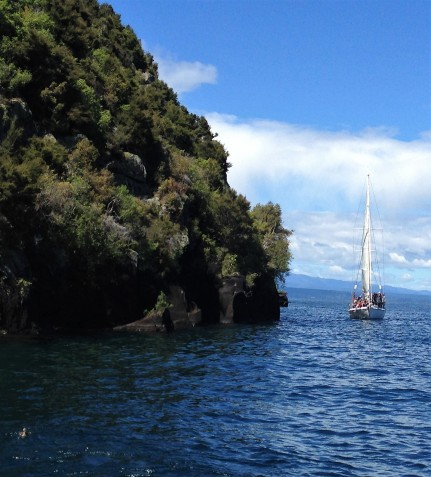 133 near Maori carvings on Lake Taupo