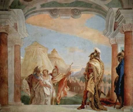 silence of girls Tiepolo Eurybates and Talthybius lead Briseis to Agamemnon